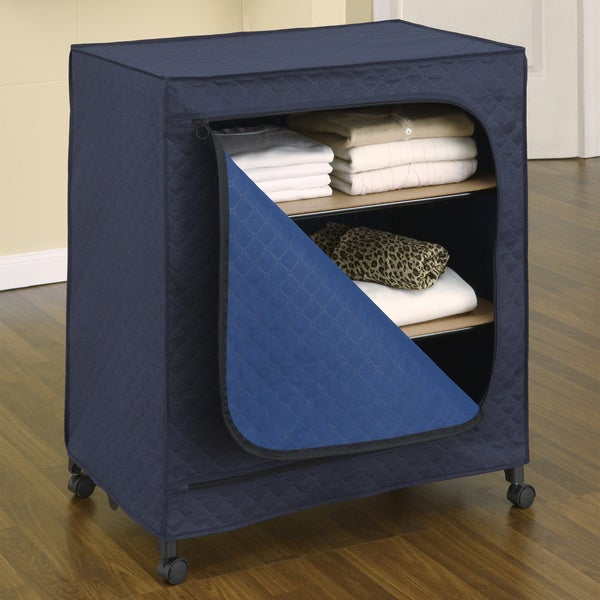Sapphite Dark Blue Metal and Bamboo Carbon Utility Storage Closet