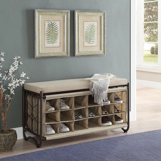 Oil-rubbed Bronze Steel Cushion Top Shoe Cubbies Bench