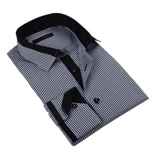 Ungaro Men's Handsome Blue Striped Cotton Dress Shirt