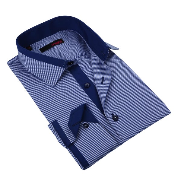 Ungaro Men's Navy/ White Check Cotton Dress Shirt