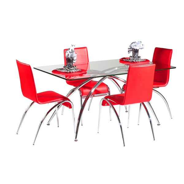 Somette Laine Chrome Chamfered Edge Glass Dining Table