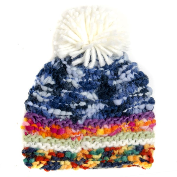 Crummy Bunny Hand-knit Multicolor Pom Pom Winter Beanie