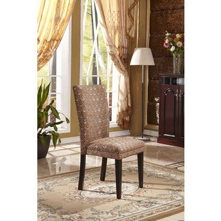 Classic Parson Red/ Gold Damask Fabric Dining Chair (Set of 2)