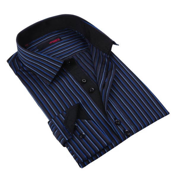Ungaro Men's Blue Grey/ Black Cotton Dress Shirt