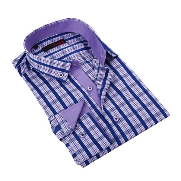 Ungaro Men's Navy/ Purple Cotton Dress Shirt