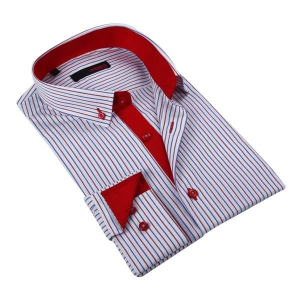 Ungaro Men's Red White/ Blue Cotton Dress Shirt