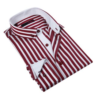 Ungaro Men's Red/ White Cotton Dress Shirt