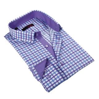 Ungaro Men's Blue/ Purple Cotton Dress Shirt