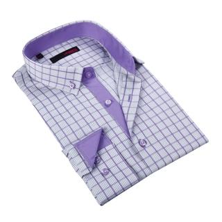 Ungaro Men's Purple/ White Checkered Cotton Dress Shirt