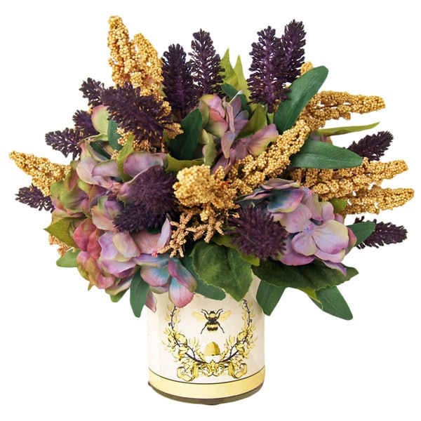Beige Wheat/ Eggplant Thistle/ Lavender Hydrangea Silk Flowers in French Bee Label Embellished Glass Vase