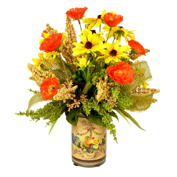Orange Poppy and Yellow Daisy Flowers with Burlap Ribbon Pot