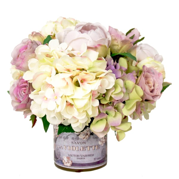 Hydrangeas with Lavender Roses and Ranunculus Silk Flowers in French Adorned Vase 15033680