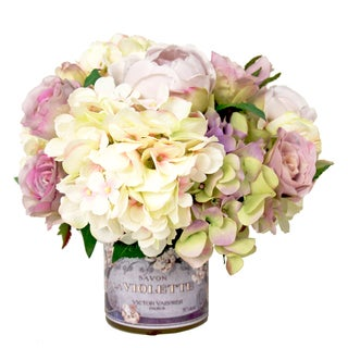 Hydrangeas with Lavender Roses and Ranunculus Silk Flowers in French Adorned Vase