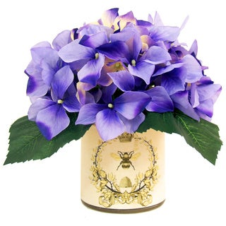 Lavender Hydrangea Silk Flowers in French Bee Labeled Glass Vase