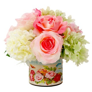 Pink Roses and White Hydrangeas Silk Flowers in Vintage Labelled Glass Vase