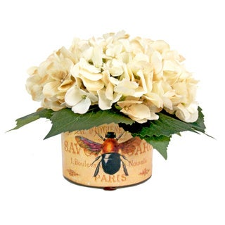 White Hydrangea Silk Flowers in French Bee Labeled Glass Vase