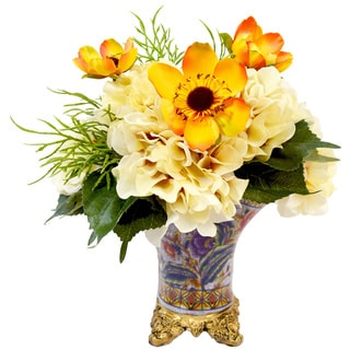 Yellow Poppy and Yellow Hydrangea Silk Flowers in Multi-colored Ceramic Footed Pot