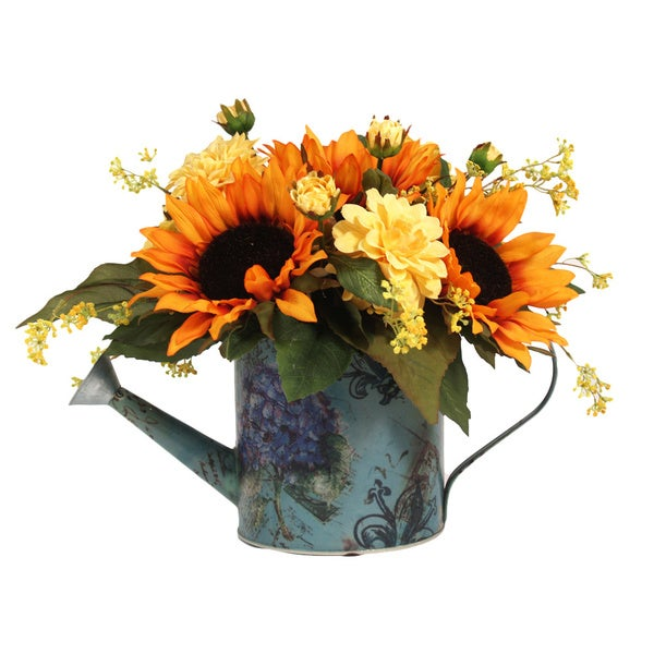 Sunflowers and Yellow Zinnia Silk Flowers in Decorative Watering Can