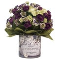 Purple and White Ranunculus Silk Flowers in French 'Violette' Labeled Glass Vase