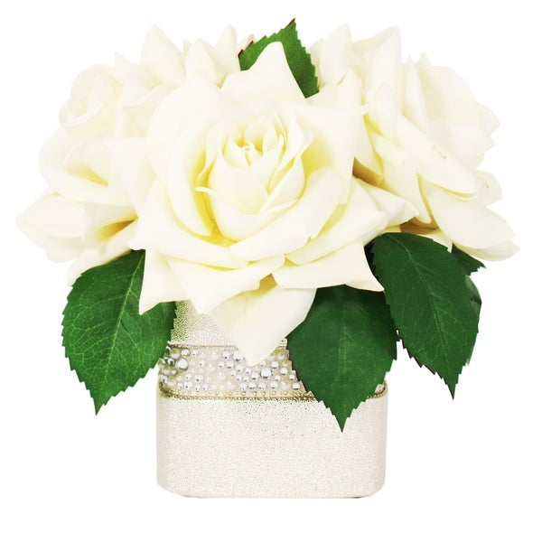 Creative Displays Large Cream Rose Bloom in White Rhinestone Ceramic Pot