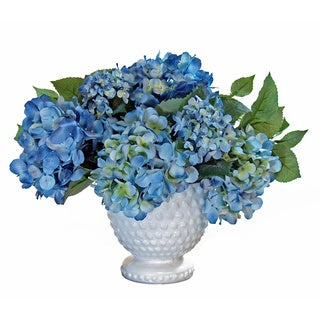 Blue Hydrangea Silk Cluster with Milk Glass Pedestal Urn