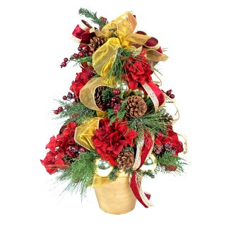 Christmas Tree Silk Floral Arrangement with Clay Container