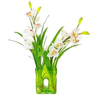 Creative Displays Cymbidium Orchids in Green Glass Vase