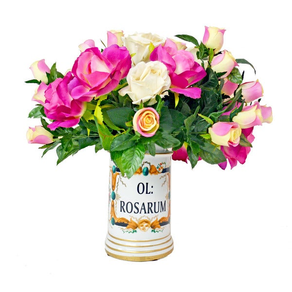 Multi-color Rose Bouquet with Vintage Ceramic Container