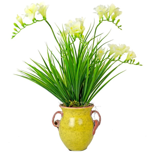 Creative Displays White Forsythia/ Green Grass in Aged Yellow Ceramic Pot