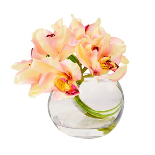 Creative Displays Pink/ Yellow Orchids Vase