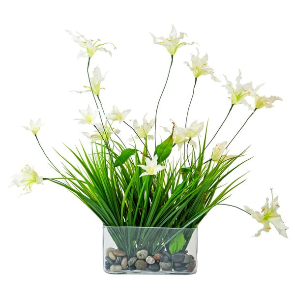 Creative Displays Glorious Flower/ Green Grass in Oblong Glass Vase