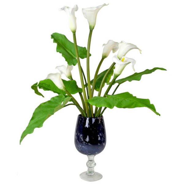Creative Displays White Calla Lily in Blue Glass Pedestal Vase