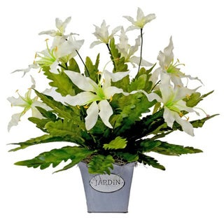 Creative Displays White Glorious Flowers/ Green Feather Leaves in Tin 'Jardin' Pot