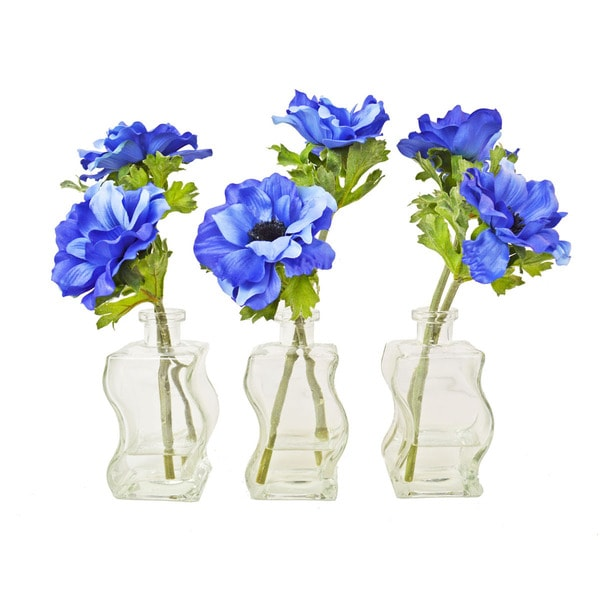 Blue Anemone Silk Flowers with Glass Containers (Set of 3)
