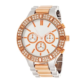 Fortune NYC Women's Cubic Zirconia Rose and Silvertone Bracelet Watch
