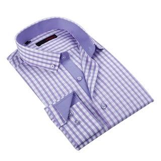 Ungaro Men's Handsome Purple/ White Checkered Cotton Dress Shirt