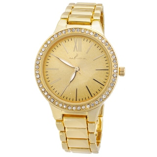 Via Nova Women's Boyfriend Goldtone Cubic Zirconia Slim Watch
