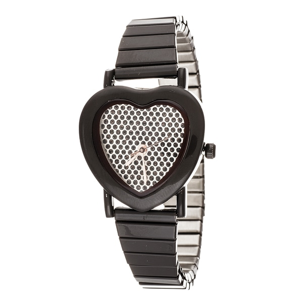 Fortune NYC Women's Brown Heart Glitter Dial Strech Bracelet Watch
