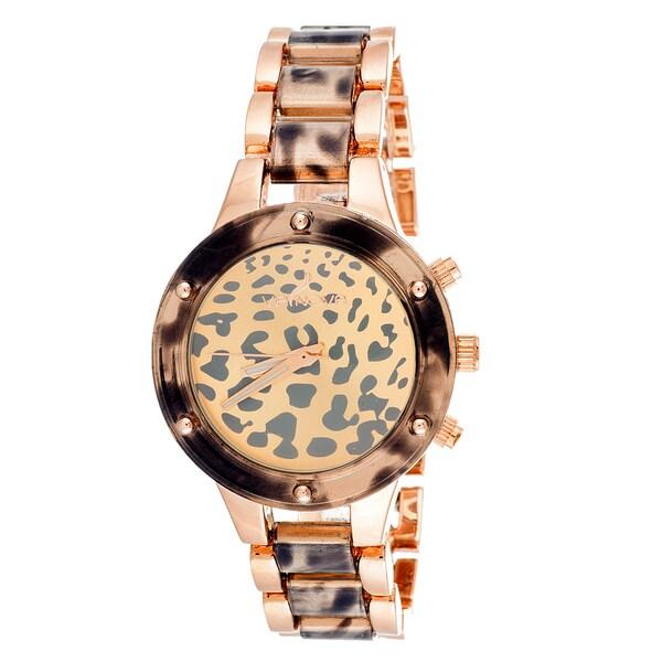 Fortune NYC Women's Grey Case Leopard Print Dial Two-tone Bracelet Watch