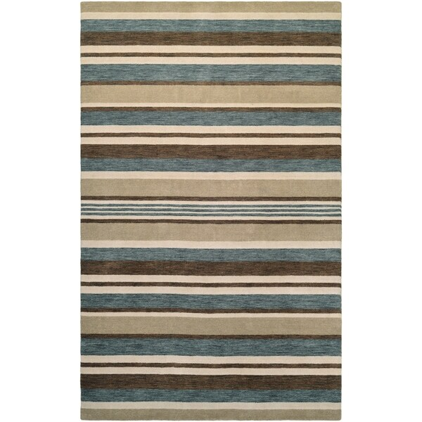 Couristan Mystique Bliss/Ivory-Teal-Brown Wool Area Rug - 4'10 x 7'10 15033960