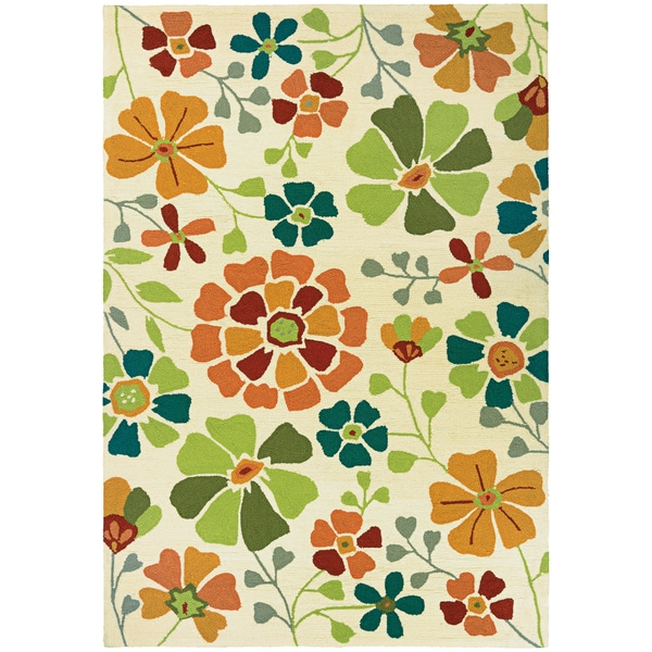 "BEACHFRONT Poppy Field/Ivory-Azure 3'6"" x 5'6"" Rug"