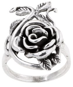 Women's Sterling-silver Vine and Rose Ring with High-polish Finish