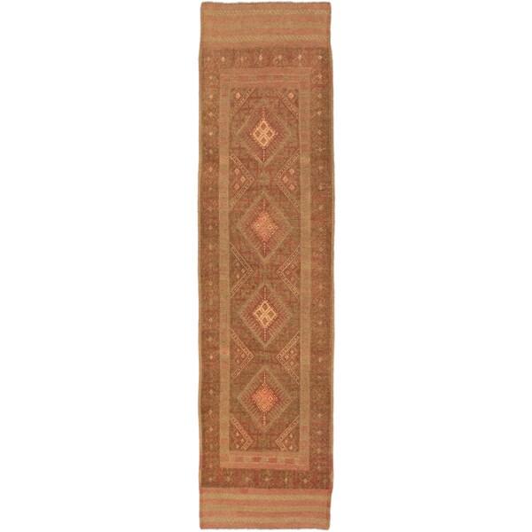 Ecarpetgallery Tajik Caucasian Dark Khaki Grey, Dark Orange-Red Wool Geometric Rug Runner (2'1 x 8'
