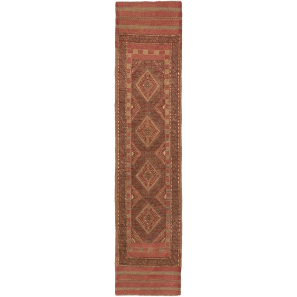 Ecarpetgallery Tajik Caucasian Dark Khaki Grey, Dark Orange-Red Wool Geometric Rug Runner (2'0 x 8'