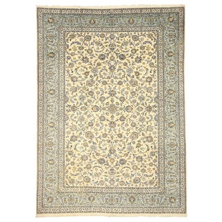 EORC 4034 Ivory Hand-knotted Wool Kashan Area Rug (8'10 x 12'3)