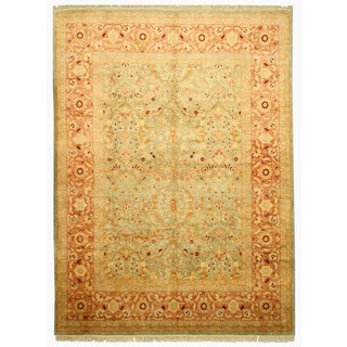 EORC 13154 Blue Hand-knotted Wool Peshawar Area Rug (9'1 x 12'4)
