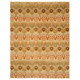 EORC 9030 Ivory Hand-knotted Wool Ikat Area Rug (9'2 x 11'7)