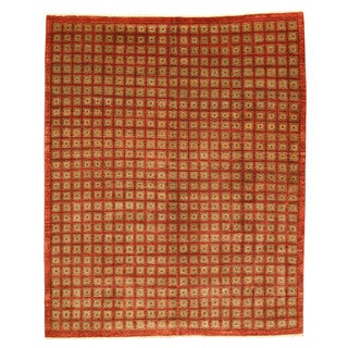 EORC 4025 Red Hand-knotted Wool Boxes Area Rug (8'9 x 10'9)