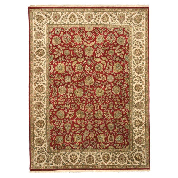 EORC 14452 Red Hand-knotted Wool Jaipur Area Rug (8'11 x 12'2)