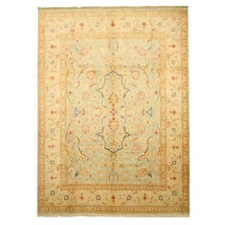 EORC 13157 Blue Hand-knotted Wool Peshawar Area Rug (9'1 x 12'3)